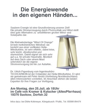 Helix windturbine ulrich papenburg